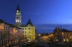 Opinião bonita da noite da cidade Fotos de Stock Royalty Free