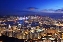 Opinião bonita da noite de Hong Kong imagem de stock royalty free