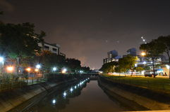 Opinião bonita da noite do canal Fotos de Stock Royalty Free