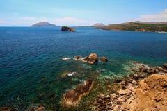 Opinião bonita da paisagem do mar no sounio, greece Fotografia de Stock Royalty Free