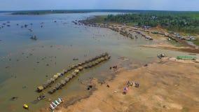 opinião bonita de Tailândia do rio da paisagem com zangão Imagem de Stock Royalty Free
