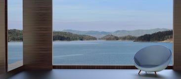 Opinião bonita do lago e verão moderno da cadeira Imagem de Stock