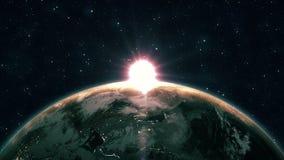 Opinião bonita do nascer do sol do espaço na terra do planeta O giro ascendente próximo do mundo no universo do céu azul stars 4k ilustração royalty free