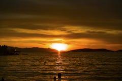 Opinião bonita do por do sol FOCA de Phokaia, izmir, peru imagem de stock royalty free