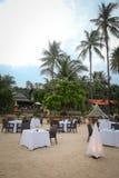 Opinião bonita do restaurante da praia em Maldives imagem de stock royalty free