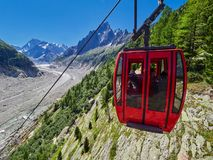 Opinião bonita Mer De Glace Geleira - Mont Blanc Massif, Chamonix, França imagem de stock royalty free