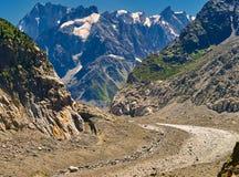 Opinião bonita Mer De Glace Geleira - Mont Blanc Massif, Chamonix, França imagens de stock royalty free