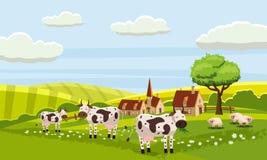Opinião bonito rural da exploração agrícola, vaca, carneiro, vetor, ilustração, isolada, estilo dos desenhos animados ilustração do vetor
