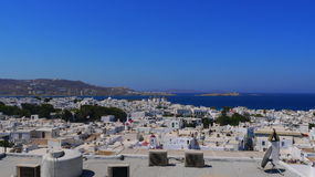 Opinião branca da cidade em Mykonos Foto de Stock Royalty Free