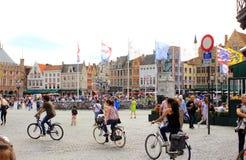 Opinião Bruges Bélgica do quadrado de Markt Fotos de Stock Royalty Free