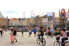Opinião Bruges Bélgica do quadrado de Markt Imagem de Stock
