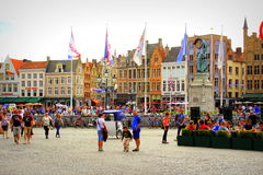 Opinião Bruges Bélgica do quadrado de Markt Imagens de Stock