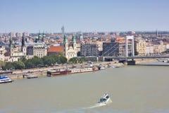 Opinião Budapest da cidade da ponte de Elizabeth Fotografia de Stock Royalty Free
