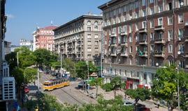 Opinião Bulgária da rua de Sófia Fotos de Stock Royalty Free