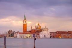 Opinião cênico da igreja de San Giorgio Maggiore no nascer do sol, Veneza Imagem de Stock Royalty Free