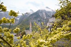 A opinião cênico do imagem-cartão da aldeia da montanha famosa de Hallstatt com Hallstaetter considera nos cumes austríacos, regi Foto de Stock Royalty Free