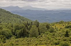 Opinião cênico os caminhantes no vale em Grayson Highlands State Park fotografia de stock