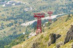 Opinião Campo Imperatore do pilão do cabo aéreo, Abruzzo, Itália Imagem de Stock