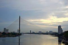 Opinião Chao Phraya River Bangkok Thailand Fotografia de Stock
