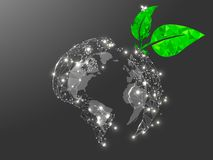 Opinião cinzenta da terra do planeta do espaço Baixo 3d poli Protetor poligonal do ozônio do vetor sob a forma da folha do verde  ilustração do vetor