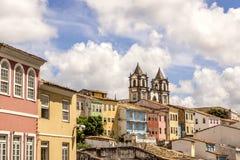 Opinião colonial da arquitetura da cidade de Salvador em Bahia Brazil fotografia de stock