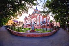 Opinião colorida da manhã da sinagoga de Subotica fotos de stock