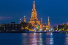 Opinião crepuscular Wat Arun Temple Foto de Stock