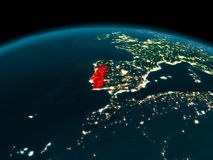 Opinião da órbita de Portugal na noite Imagens de Stock Royalty Free