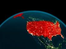 Opinião da órbita dos EUA na noite Fotos de Stock