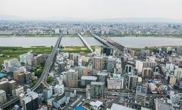 Opinião da arquitetura da cidade da metrópole de Osaka Imagens de Stock Royalty Free