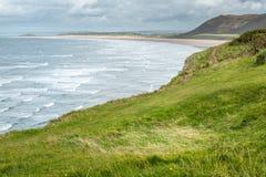 Opinião da baía de Rhossili, Gales do Sul, Reino Unido Imagens de Stock Royalty Free