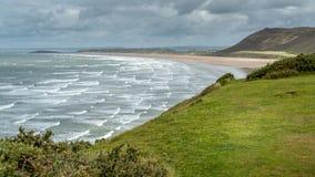 Opinião da baía de Rhossili, Gales do Sul, Reino Unido Imagem de Stock Royalty Free