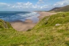 Opinião da baía de Rhossili, Gales do Sul, Reino Unido Fotos de Stock Royalty Free