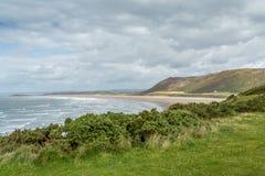 Opinião da baía de Rhossili, Gales do Sul, Reino Unido Foto de Stock