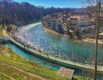 Opinião da beira do lago, Suíça de Berne Imagens de Stock Royalty Free