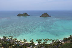 Opinião da caixinha de comprimidos de Lanikai das ilhas de Oahu Mokulua Fotografia de Stock