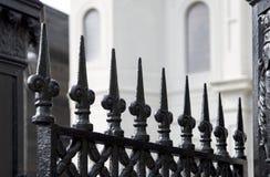 Opinião da cerca do ferro forjado e do Louis Cathedral de Saint Imagens de Stock