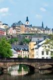 Opinião da cidade da cidade velha Luxembourg Imagem de Stock