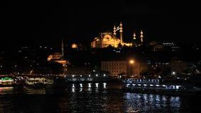 Opinião da cidade da noite de Instanbul, Turquia Fotografia de Stock Royalty Free