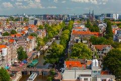 Opinião da cidade de Amsterdão de Westerkerk, Holanda, Países Baixos Foto de Stock Royalty Free