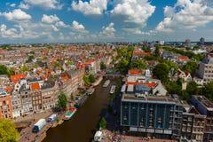 Opinião da cidade de Amsterdão de Westerkerk, Holanda, Países Baixos Imagens de Stock