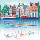 Opinião da cidade de Amsterdão na torre Munttoren Imagens de Stock
