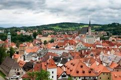 Opinião da cidade de Cesky Krumlov, República Checa fotos de stock