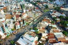 Opinião da cidade de Ho Chi Minh, urbano denso Foto de Stock