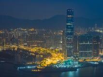 Opinião da cidade de Hong Kong na noite Fotos de Stock Royalty Free