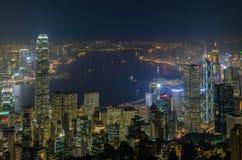 Opinião da cidade de Hong Kong na noite Fotografia de Stock