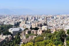 Opinião da cidade de Malaga, Espanha fotografia de stock royalty free