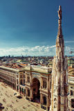 Opinião da cidade de Milão e quadrado principal Foto de Stock Royalty Free