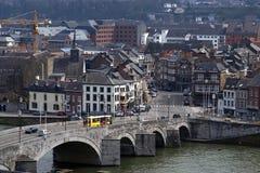 Opinião da cidade de Namur com o rio Meuse, Bélgica foto de stock royalty free