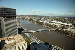 Opinião da cidade e do rio de Brisbane Imagens de Stock Royalty Free